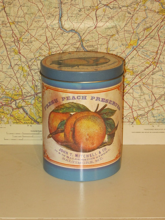 FLASH SALE Vintage Fresh Peach Preserves Tin