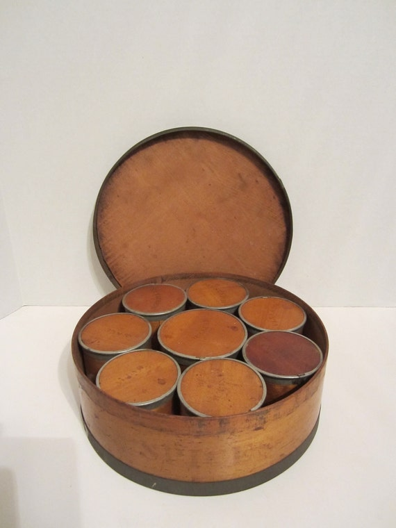 Antique Primitive Wood And Tin Spice Box reserved for REDGREENESGARAGE