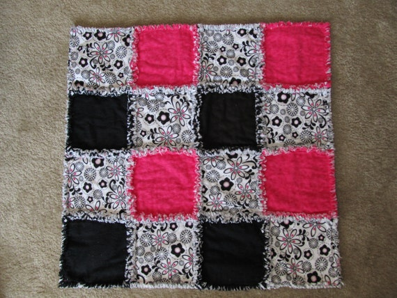 Hot Pink and Black Baby Girl Rag Quilt