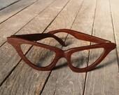 Wood EyeGlasses Frames Cat  Eyes Peruvian Walnut Prescription or Sunglasses