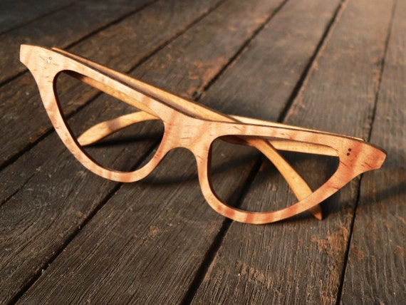 Wood Eye Glasses Frames Cat  Eyes Maple Prescription or Sunglasses