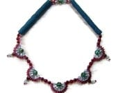 Beaded jewelry. Beadwoven red and blue vintage feel like necklace.FREE SHIPPING in USA