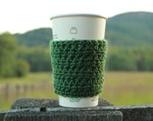 Bean Crochet Coffee Sleeve / Cozy in Dark Sage