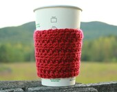 Bean Crochet Coffee Sleeve / Cozy in Autumn Red