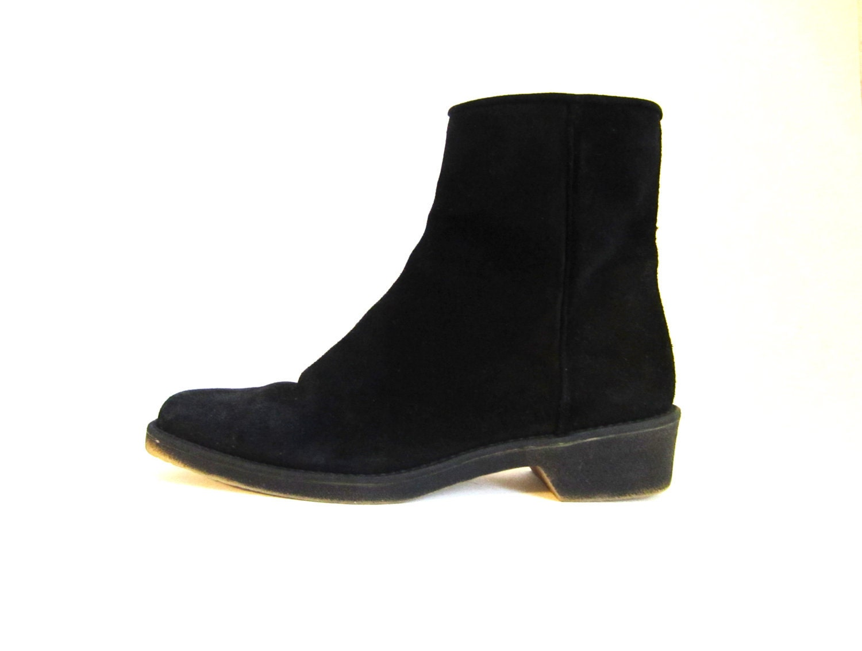 vintage 90s black suede beatle moto boots 6 5 by