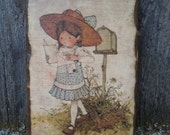 sweet vintage holly hobbie wooden wall plaque .. cute home decor..