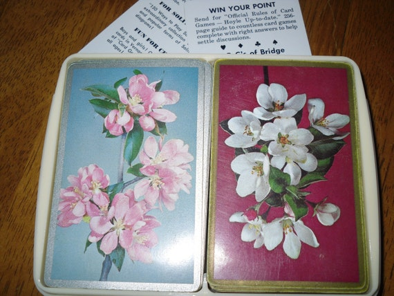 vintage set of playing cards ... flowers
