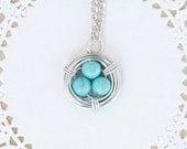 wire wrapped bird nest necklace - robins egg