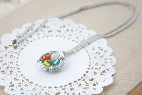 reserved listing for bayley - wire wrapped bird nest necklace - birthstones