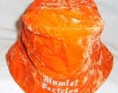 Orange Crushed-glass Velvet Bucket Hat | Velvet Hat | Crushed Velvet Unisex Bucket Hat | Plush Hat  by Hamlet Pericles