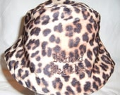 Golden-brown, leopard animal print, fur-like, bucket hat by Hamlet Pericles