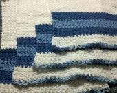 Crochet Hand Towel Set: 4 Light Blue White Dark Blue Patterned Crochet hand towels Great gift