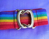 Vintage early 1980s High Waisted Elastic Rainbow Belt w/ Solid Brass Buckle