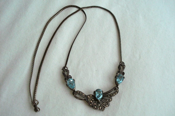 EOY Sale: 25% OFF - Vintage Sterling Silver Marquesite Necklace with Pear Shaped Blue Topaz Gemstones