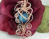 SALE Valentine's Heart, Copper Wire Wrapped & Blue Lampwork Pendant