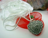 Vintage Marcasite Locket, Puffy Heart, Silver plated Snake Chain 20 inches