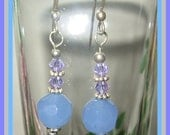 Faceted Chalcedony, Swarovski Lilac Crystals and 925 Silver, Earrings