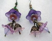 Dusky Lavender Lucite Flower, Swarovski,Bridal Earrings,Summer, Feminine, Garden Wedding