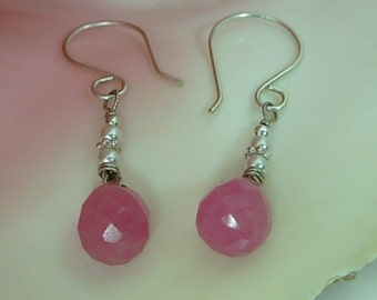 BCA Jewelry, 50%  charity donation, Pretty Pink Jade & Silver Earrings, Handmade ear wires, Breast Cancer Survivor, womens gift under 25