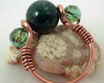 Copper Ring, Wire wrapped, Fancy Jasper, Swarovski, Sz. 6.5, Unisex, earthy, rustic, custom sized, unique, deep green,gift 4 her under 20