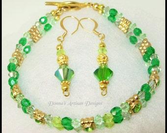 2 Strand, Vermeil &  Green Peridot Swarovski Crystal, Bracelet SET