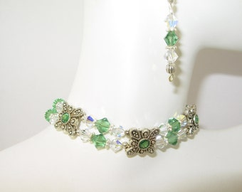 2 Strand Green Swarovski Crystals & Silver Bracelet SET