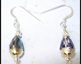 Vintage Swarovski Vitral Teardrop ,Silver Earrings