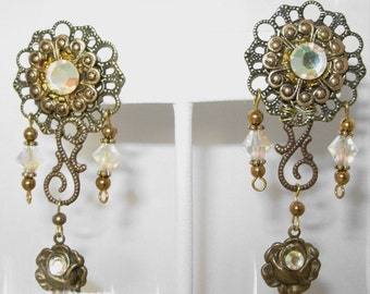 Vintage Brass,Victorian, Renaissance,Swarovski Dangle Earrings