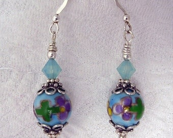 Vintage Hand painted porcelain Earrings, Bali silver , Swarovski crystals