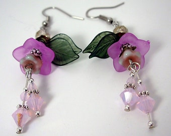 Radiant Orchid Flower Earrings, Lucite & Swarovski, Pantone inspired color, Spring floral, feminine, under 20 gift for her