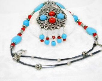 Turquoise, Coral & Bali Silver Necklace Set, Unique Tibetan Style Pendant, Unisex, under 50 gift, red and Blue, gift idea, casual, boho