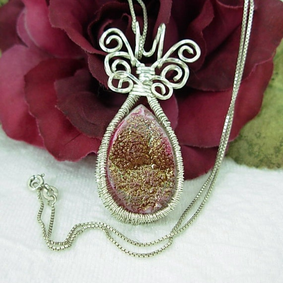 Pink Druzy, Silver Wire Wrapped Pendant Necklace, Butterfly Design