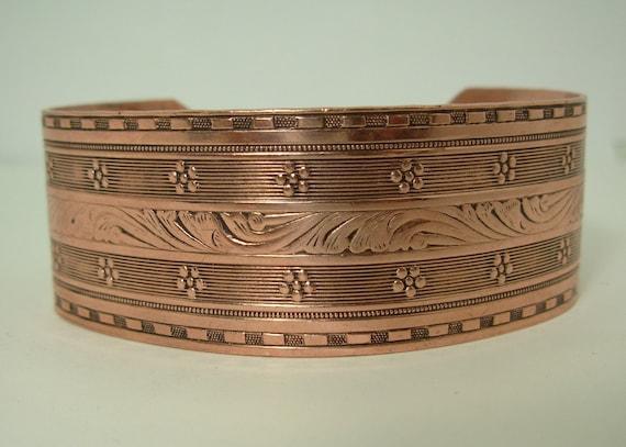 Copper Cuff, Bracelet, Unisex, Vintage, Ornate Design, Patinaed
