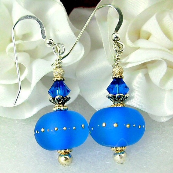 GORGEOUS COLOR, Azure, Artisan Lampwork, Swarovski, Sterling Silver Earrings, Frosted, Silvered