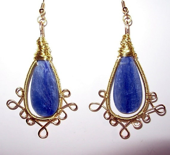 Wire wrapped Kyanite Long Dangle Earrings, Gold and Blue
