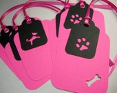 Dog Gift Tags in Hot Pink and Black