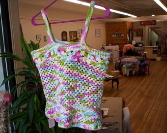 Cotton crocheted summer camisole, size: Medium