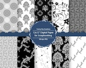 Black and White Damask - Digital Scrapbook Paper Pack Clip Art Clipart Scrapbooking Cards Stationery Page, Personal and Commercial Use p127