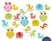 Baby Animals - Digital Clip Art Clipart Embellishments for Scrapbooking Cards Stationery Paper Products, Personal and Commercial Use c075