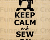 Keep Calm and Sew On Sewing Machine - Burlap Digital Download Paper Word Text Typography Image Transfer To Pillows Tote Bag Tea Towels b197
