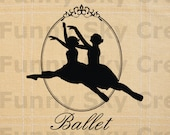 Ballet Dance Ballerina Silhouette Frame - Burlap Digital Download Paper Iron On Image Transfer To Pillows Tote Bag Tea Towels b210