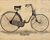 Vintage Bicycle Bike - Burlap Digital Download Paper Image Transfer To Pillows Tote Bag Tea Towels b216