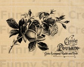 Chocolate Rose French Vintage Poster - Burlap Digital Download Paper Iron On Image Transfer To Pillows Cushion Tote Bag Tea Towels b492