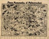 Paris French Vintage Map Old - Burlap Digital Download Paper Iron On Image Transfer To Pillows Cushion Tote Bag Tea Towels b493