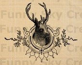 Christmas Deer Head Antler Silhouette - Burlap Digital Download Paper Image Transfer To Cushion Pillows Tote Bags Tea Towels b557