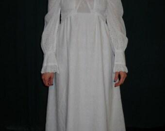 1970's eyelet pattern wedding dress