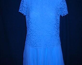 1960s Turqouise 2 PC womens crepe dress