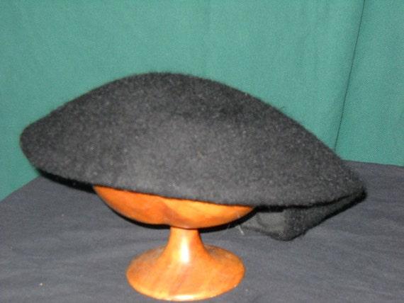 1950s Black Beret Ladies Hat by Merrimac Hat Corp
