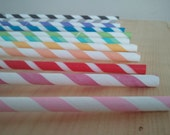 Create Your Own Rainbow Pack of 70 Striped Straws with DIY Pennants