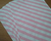 25 Striped Pink Paper Bags